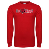 Red Long Sleeve T Shirt-Red Wolves w/Red Wolf Head Centered