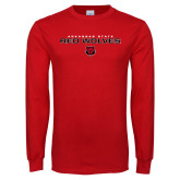 Red Long Sleeve T Shirt-Arkansas State Red Wolves Block
