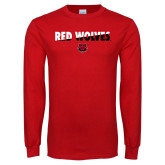 Red Long Sleeve T Shirt-Red Wolves Two Tone