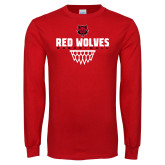 Red Long Sleeve T Shirt-Basketball Sharp Net