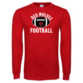 Red Long Sleeve T Shirt-Football Distressed Ball