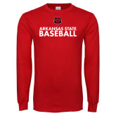 Red Long Sleeve T Shirt-Baseball Stacked Text