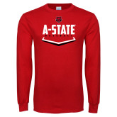 Red Long Sleeve T Shirt-Baseball Abstract Plate