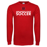 Red Long Sleeve T Shirt-Soccer Stacked Text