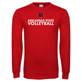 Red Long Sleeve T Shirt-Volleyball Stacked Text