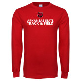 Red Long Sleeve T Shirt-Track and Field Stacked Text