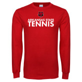 Red Long Sleeve T Shirt-Tennis Stacked Text