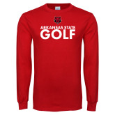 Red Long Sleeve T Shirt-Golf Stacked Text
