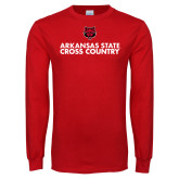 Red Long Sleeve T Shirt-Cross Country Stacked Text
