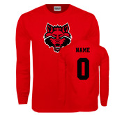 Red Long Sleeve T Shirt-Red Wolf Head, Custom Tee w/ Name and #