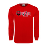 Red Long Sleeve T Shirt-Red Wolf Head w/A State