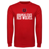 Red Long Sleeve T Shirt-Arkansas Red Wolves Stacked w Wolf Head