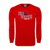 Red Long Sleeve T Shirt-Red Wolves Stacked Head Centered
