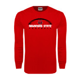 Red Long Sleeve T Shirt-Arched Football Design