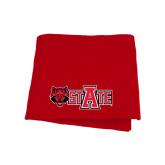 Red Sweatshirt Blanket-Red Wolf Head w/A State