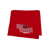 Red Sweatshirt Blanket-Red Wolves Stacked Head Centered
