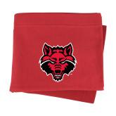 Red Sweatshirt Blanket-Red Wolf Head