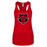 Next Level Ladies Red Ideal Racerback Tank-Red Wolf Head
