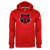 Under Armour Red Performance Sweats Team Hood-Red Wolf Head