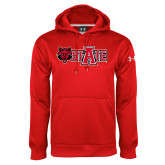 Under Armour Red Performance Sweats Team Hoodie-Red Wolf Head w/A State