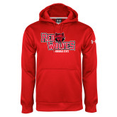 Under Armour Red Performance Sweats Team Hoodie-Red Wolves Stacked Head Centered