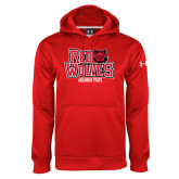Under Armour Red Performance Sweats Team Hoodie-Red Wolves Stacked Head on Right