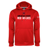 Under Armour Red Performance Sweats Team Hood-Arkansas State Red Wolves Stacked Block