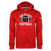 Under Armour Red Performance Sweats Team Hoodie-Football Distressed Ball