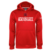 Under Armour Red Performance Sweats Team Hood-Baseball Stacked Text