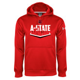 Under Armour Red Performance Sweats Team Hoodie-Baseball Abstract Plate