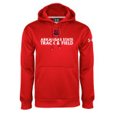 Under Armour Red Performance Sweats Team Hood-Track and Field Stacked Text