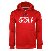 Under Armour Red Performance Sweats Team Hood-Golf Stacked Text
