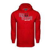 Under Armour Red Performance Sweats Team Hood-Red Wolves Stacked Head Centered