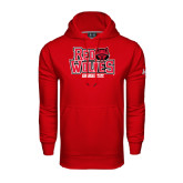 Under Armour Red Performance Sweats Team Hood-Red Wolves Stacked Head on Right