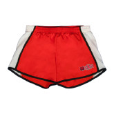 Ladies Red/White Team Short-Red Wolf Head w/A State