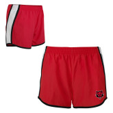 Ladies Red/White Team Short-Red Wolf Head