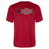 Performance Red Tee-Red Wolf Head w/A State