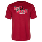 Performance Red Tee-Red Wolves Stacked Head Centered