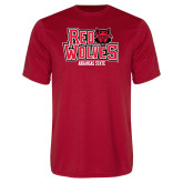 Performance Red Tee-Red Wolves Stacked Head on Right