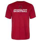 Performance Red Tee-Basketball Stacked Text
