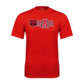 Syntrel Performance Red Tee-Red Wolf Head w/A State