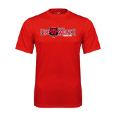 Syntrel Performance Red Tee-Red Wolves w/Red Wolf Head Centered
