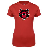 Ladies Syntrel Performance Red Tee-Red Wolf Head