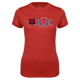 Ladies Syntrel Performance Red Tee-Red Wolf Head w/A State