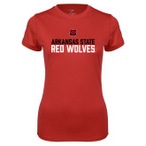 Ladies Syntrel Performance Red Tee-Arkansas State Red Wolves Stacked Block