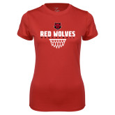 Ladies Syntrel Performance Red Tee-Basketball Sharp Net