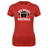 Ladies Syntrel Performance Red Tee-Football Distressed Ball