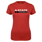 Ladies Syntrel Performance Red Tee-Football Bar