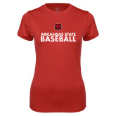 Ladies Syntrel Performance Red Tee-Baseball Stacked Text