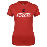 Ladies Syntrel Performance Red Tee-Soccer Stacked Text